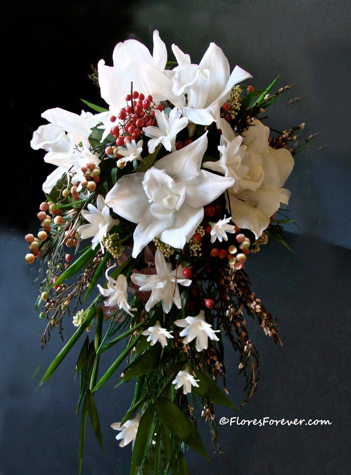 Orquideas Blancas Floresforever ~ Ramos De Novia Flores Preservadas
